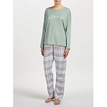 Buy John Lewis Sleep Slogan Pyjama Set, Green/Grey Online at johnlewis.com