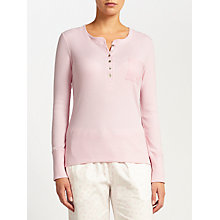 Buy John Lewis Henley Ribbed Jersey Pyjama Top, Pink Online at johnlewis.com