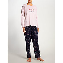 Buy John Lewis Wake Me Molly Slogan Pyjama Set, Pink/Navy Online at johnlewis.com