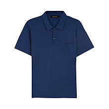 Buy Jaeger Pique Cotton Polo Shirt, Indigo Online at johnlewis.com