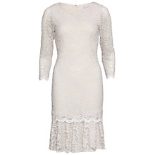 Buy Gina Bacconi Lace Dress With Frill Hem, Beige Online at johnlewis.com