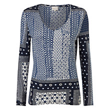 Buy East Marrakesh Print Jersey Top, Indigo Online at johnlewis.com