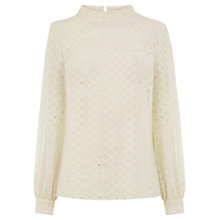 Buy Warehouse Broderie Lace Top, Cream Online at johnlewis.com