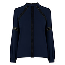 Buy Warehouse Lace Insert Top, Navy Online at johnlewis.com