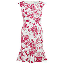 Buy Gina Bacconi Floral Stretch Cotton Godet Dress, Pink Online at johnlewis.com