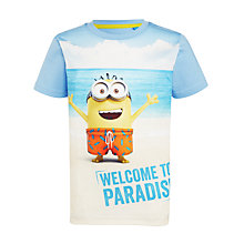 Buy John Lewis Boys' Short Sleeve Minions T-Shirt, Sky Online at johnlewis.com