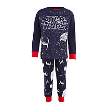 Buy Star Wars Children's Glow In The Dark Pyjamas, Navy Online at johnlewis.com