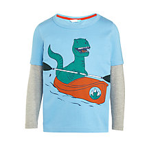 Buy John Lewis Boys' Canoe Dinosaur Print T-Shirt, Blue Online at johnlewis.com