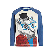 Buy John Lewis Boys' Badger Print T-Shirt, Cream/Navy Online at johnlewis.com