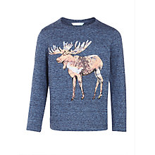 Buy John Lewis Boys' Moose Print T-Shirt, Navy Online at johnlewis.com