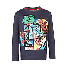 Buy John Lewis Boys' Marvel Superheroes Long Sleeve T-Shirt, Navy/Multi Online at johnlewis.com