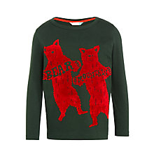 Buy John Lewis Boys' Bear Mountain T-Shirt, Dark Green/Red Online at johnlewis.com