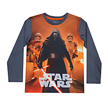 Buy John Lewis Boys' Kylo Ren Long Sleeve T-Shirt, Charcoal Online at johnlewis.com