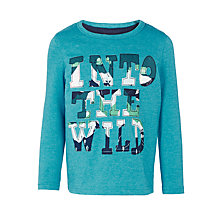 Buy John Lewis Boys' Into The Wild Appliqué T-Shirt, Blue Marl Online at johnlewis.com