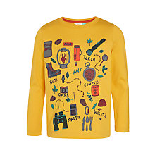 Buy John Lewis Boys' Camping Print T-Shirt, Yellow Online at johnlewis.com