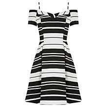 Buy Oasis Textured Bardot Dress, Black/White Online at johnlewis.com