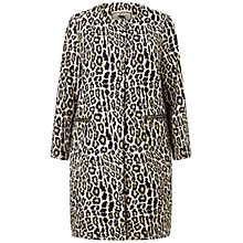 Buy Four Seasons Collarless Animal Print Coat, Black/Brown Online at johnlewis.com