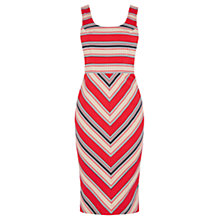 Buy Oasis Chevron Diamond Stripe Dress, Multi Red Online at johnlewis.com
