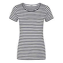 Buy Jigsaw Foundation Cotton Slub Stripe T-Shirt, Navy Online at johnlewis.com