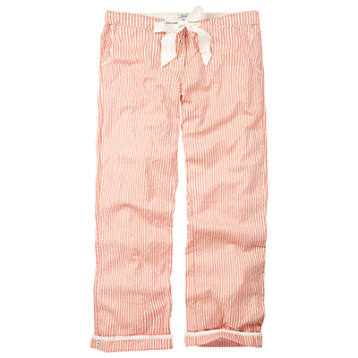 Fat Face Candy Stripe Lounge Pants, Sugar Coral
