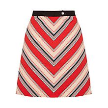 Buy Oasis Chevron Diamond Stripe Skirt, Multi Red Online at johnlewis.com