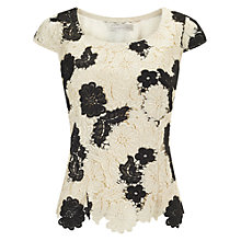 Buy Jacquest Vert Monochrome Lace Top, Cream/Black Online at johnlewis.com