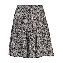 Buy Fat Face Pleat Bali Mono Print Skirt, Brown Online at johnlewis.com