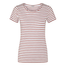 Buy Jigsaw Foundation Cotton Slub Stripe T-Shirt, Rosewood Online at johnlewis.com