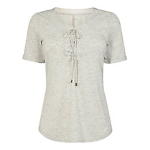 Buy Karen Millen Lace Up T-Shirt, Pale Grey Online at johnlewis.com