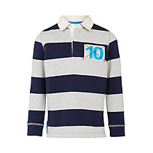 Buy John Lewis Boys' Bar Stripe Rugby Top, Navy/Grey Online at johnlewis.com