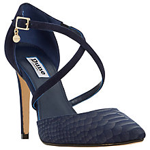 Buy Dune Connie Two Part Pointed Toe Court Shoes, Navy Reptile Online at johnlewis.com