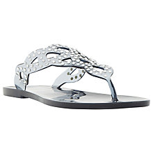 Buy Dune Lexanna Embellished Flip Flops, Grey Online at johnlewis.com