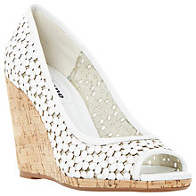 Buy Dune Cassie Wedge Heeled Peep Toe Sandals, White Online at johnlewis.com