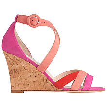 Buy L.K. Bennett Katie Wedge Heeled Sandals, Fuchsia Online at johnlewis.com