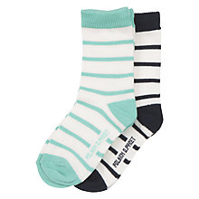 Buy Polarn O. Pyret Stripe Baby Socks, Pack of 2, Green/Black Online at johnlewis.com