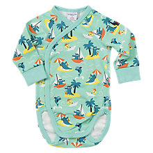 Buy Polarn O. Pyret Baby Beach Print Bodysuit, Green Online at johnlewis.com
