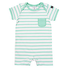 Buy Polarn O. Pyret Baby Stripe Romper Playsuit, Green Online at johnlewis.com