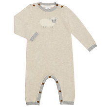 Buy John Lewis Baby Knitted Sheep Romper Playsuit, Cream Online at johnlewis.com