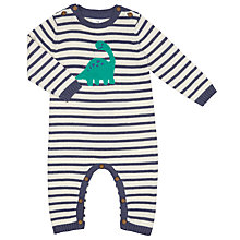 Buy John Lewis Baby Stiped Dinosaur Romper Playsuit, Blue/Cream Online at johnlewis.com