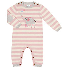 Buy John Lewis Striped Elephant Romper Playsuit, Pink/Cream Online at johnlewis.com