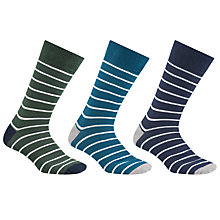 Buy John Lewis Breton Striped Socks, Pack of 3, Green/Blue/Navy Online at johnlewis.com