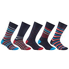 Buy John Lewis Multi Design Socks, Pack of 5, Navy/Multi Online at johnlewis.com