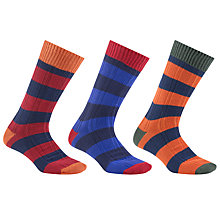 Buy John Lewis Rugby Stripe Socks, Pack of 3, Multi Online at johnlewis.com