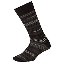 Buy BOSS Mercerised Cotton Stripe Socks, Black Online at johnlewis.com