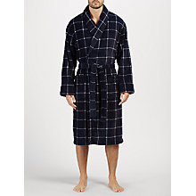Buy John Lewis Printed Window Check Fleece Robe, Navy Online at johnlewis.com