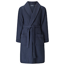 Buy John Lewis Pure Cotton Waffle Robe, Navy Online at johnlewis.com