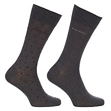 Buy BOSS Mercerised Cotton Blend Dot Socks, Pack of 2, Grey Online at johnlewis.com