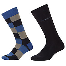 Buy BOSS Block Plain Socks, Pack of 2, Blue/Black Online at johnlewis.com