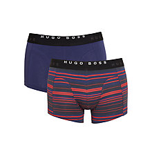 Buy BOSS Plain and Stripe Print Trunks, Pack of 2, Blue/Red Online at johnlewis.com