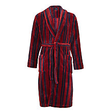 Buy John Lewis Printed Stripe Fleece Robe, Burgundy Online at johnlewis.com